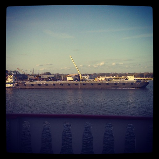 View from the Savannah Riverboat cruise.